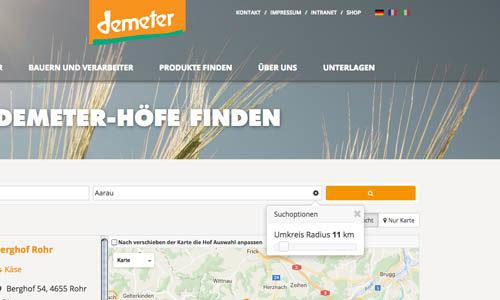 Demeter Produkte finden